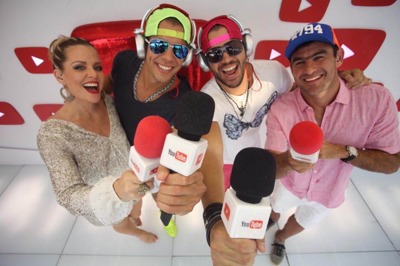 Os irmãos Rafa e Pipo Marques com a apresentadora do canal Youtube, Luciana Fialho.